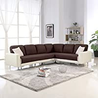 Modern 2 Tone Linen Fabric Sectional Sofa, Large L-Shape Couch (Brown / Ivory)