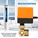 Motorized Ball Valve, DC 12V Brass Ball Valve 3 Way 3 Wire Electrical Ball Valve G1/2 DN15 Thread Connection Flow Control Switch