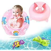 Safety Kids Inflatable Baby Seat Float For 3-36 Months Bath Sets, Infant Pool Float Swimming Ring With Safe Handle, Plus 2 Pieces Wind up Turtle and Crocodile Bathtub Toys (Pink)