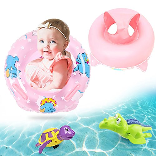 Inflatable Pool Float for Kids, Safety Seat Aquarium Baby Boat, Activity Center Bath Toys Water Fun Infant Swimming Ring with 2 Pieces Bathtub Wind up Turtle and Crocodile Clockwork Toy