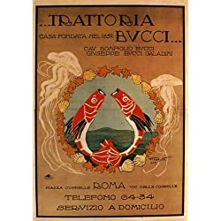 "Trattoria Bucci 1851 Roma Red Fish Ocean Sea Restaurant Italian Food Italy Italia 16"" X 22"" Image Size Vintage Poster Reproduction. We have other sizes available"