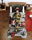 Fireman, Firefighter Boys Photo Real Twin Comforter & Sham Set (2 Piece Bedding)