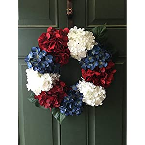 "Fourth of July Hydrangea Wreath15"" Red White and Blue Summer Decor Red White and Blue Decoration Primitive America the Beautiful 21"