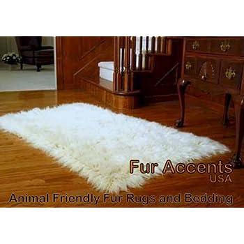 Fur Accents Faux Fur Area Rug Thick Shag Mongolian Sheepskin Rectangle ...