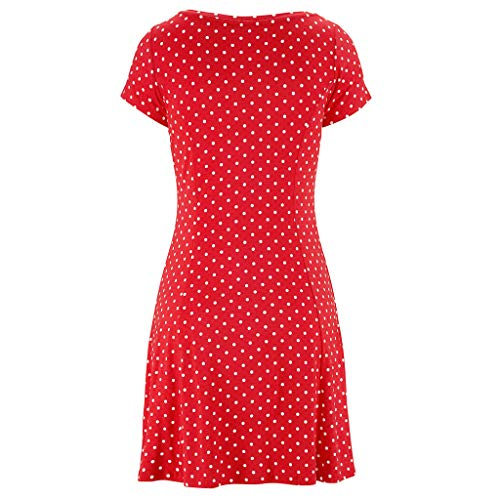 Womens Casual Bohemian Short Sleeve Dot Printed Above Knee Dress Party DressGirls' Fashion by Youngh Red by Youngh Dress (Image #2)