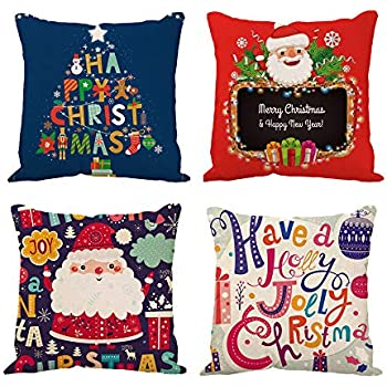 TOWSIX Set of 4 Christmas Pillow Covers 18x18 inch Santa Claus Christmas Tree Throw Pillow Case Xmas Cushion Cover Case Decorative Square Pillowcase for Sofa Couch Farmhouse Decoration