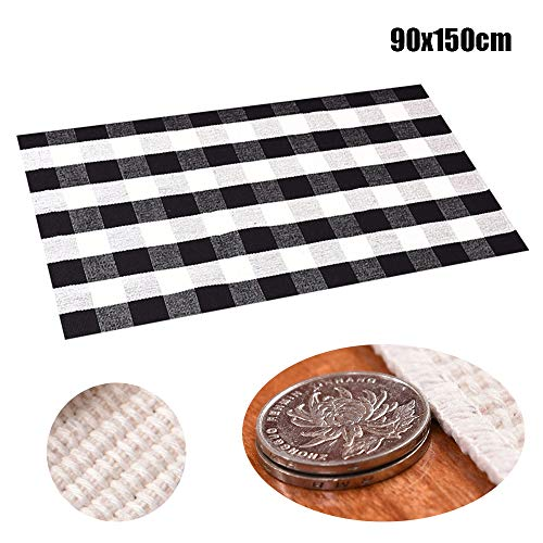 Transer- Rectangle Plaid Braided Linen Non-Slip Floor Mat Doormat Room Door Carpets Bathmat Area Rug for Kitchen Bathroom Living Room Bedroom (A, 3x5 Ft.)
