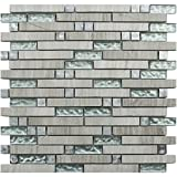 Athens Grey Marble Blend (GD05) Stone Glass Aluminum Metal Backsplash Tiles for Kitchen Bathroom Mosaic Wall (1 Box / 11 Sheets)