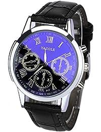 Luxury Fashion Leather Mens Blue Ray Glass Quartz Analog Watches Wrist Watch (Black)