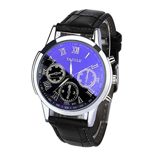 IEason,Luxury Fashion Leather Mens Blue Ray Glass Quartz Analog Watches Wrist Watch (Black)