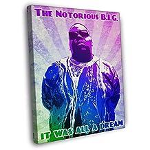The Notorious B.I.G. Vintage Pop Art Painting Rap Hip-Hop Music Rapper Biggie Smalls BIG 30x20 Framed Canvas Print