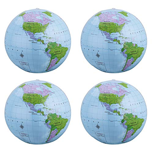 SBYURE 4 Pack 16 Inches Inflatable Globe PVC Earth Blow up World Globe Beach Ball for Beach Playing,Party Bags,Teaching (Earth Inflatable Giant)