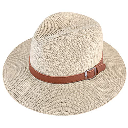 Lanzom Men Wide Brim Straw Foldable Roll up Hat Fedora Summer Beach Sun Hat UPF50+ (Style C-Beige, Medium Size:Fit for 22.5