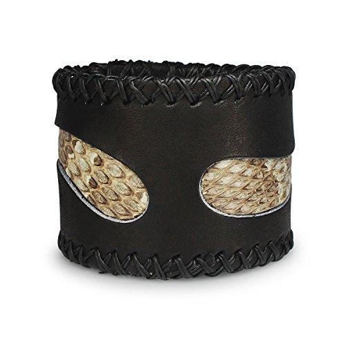 Genuine Brown Leather Wide Belt Wristband Cuff Bangle Bracelet Adjustable 7-7.5In Color Block Snakeskin Mesh Design - Snakeskin Genuine Belt