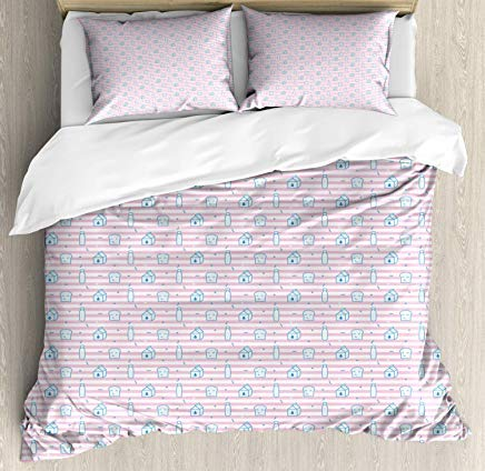 Breakfast Duvet Cover Set Queen Size - Sweet Pattern of Milk Bottle and Smiling Toast on Stripes - Decorative 3 Piece Bedding Set with 2 Pillow Shams - Sea Blue Baby Blue Baby Pink White