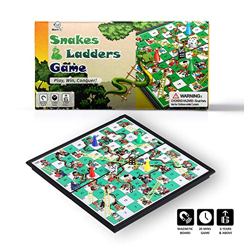 Mart NS Magnetic Snakes and Ladder Set - Portable Family Fun Board Game for All Ages (10 Inches)