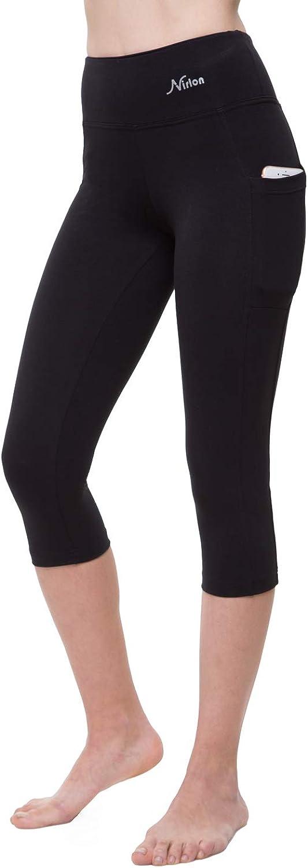 NIRLON Capri 3/4 Yoga Pants Sides Pockets High Waist Workout Black Leggings for Women Regular & Plus Size