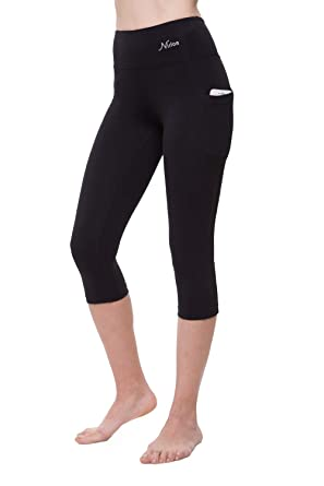 NIRLON Capri 3/4 Yoga Pants Sides Pocket High Waist Workout Black Leggings for Women