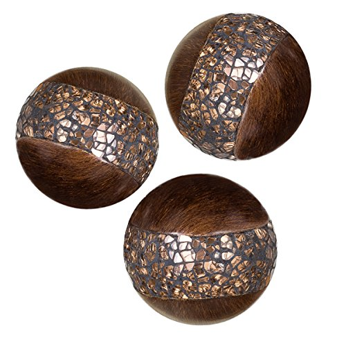 Creative Scents Schonwerk Walnut Decorative Orbs for Bowls and Vases (Set of 3) Resin Sphere Balls | Dining/Coffee Table Centerpiece | Great Gift Idea (Crackled Mosaic) (Ornamental Mirrors)