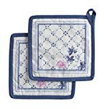 Maison d' Hermine Faïence 100% Cotton Set of 2 Pot Holders 8 Inch by 8 Inch