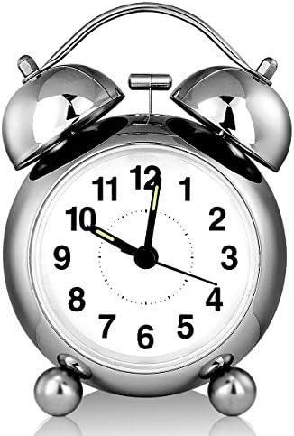Doppelglockenwecker, Ubegood wecker Analog Quarzwecker Alarm Wecker kein Ticken geruschlos , lauter Alarm, Batteriebetrieben Glockenwecker 3.5 Zoll
