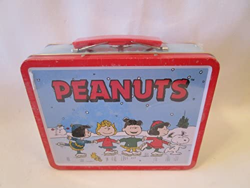 Amazon Com Peanuts Large Tin Lunch Box Snoopy Girls On Ice Skates Limited Edition Childrens Lunch Boxes Kitchen Dining