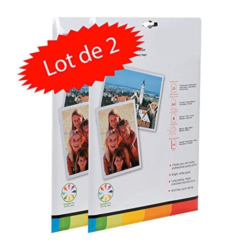 Pack de 50 feuilles de papier photo A4 (21x29.7) cm MAT 260 gr