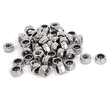 TOOGOO M6 x 1.0mm ecrous de verrouillage de nylon en acier inoxydable 304 ecrou de blocage integre hexagonal 100 Pieces