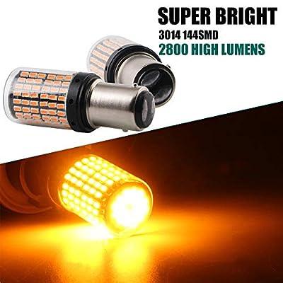 EverBright 1157 Led Bulb Brake Light, Canbus No Hyper Flash BAY15D 7528 2057 1034 1016 Replacement for Camper Trailer MPV Brake Led Bulb Amber, 3014 Chipset 144SMD 2800 Lumen(Pack of 2): Automotive