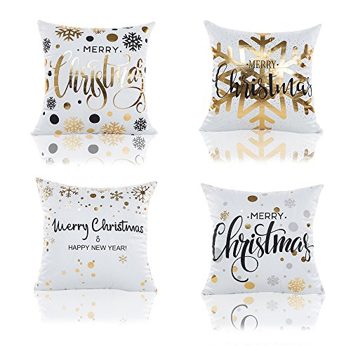 TOOL GADGET 4-Pack Gold Stamping Christmas Pillows Covers, Gold Foil Art Print Snowflakes Merry Christmas Decorative Throw Pillow Case Cushion Cover 18x18, Polyester Satin Fabric (Christmas Throw Pillows Sale)