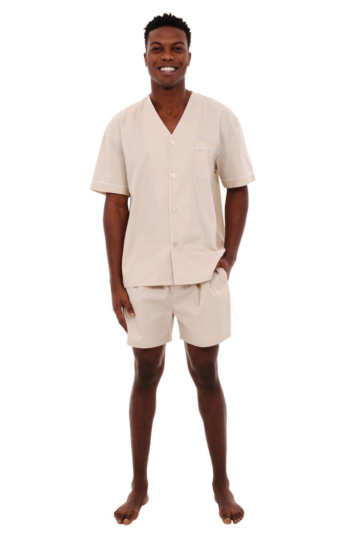 Alexander Del Rossa Mens Cotton Pajamas, Short V-Neck Woven Pj Set, Large Taupe Cream (A0698TPELG)