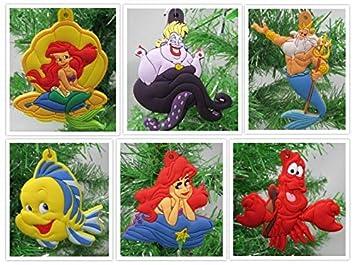 Christmas Tree Ornaments Little Mermaid Set Featuring Ariel and Friends - Unique Shatterproof Plastic Design