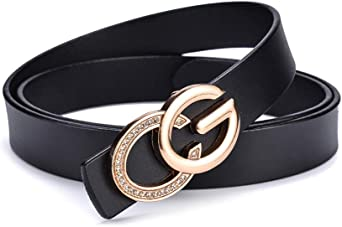 Fashion Women's Chic Letter Fancy Belts Genuine Leather Vintage Jeans Belt (Black, 100cm)