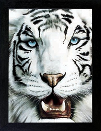 3D Lenticular Picture Poster Artwork Unique Wall Decor Holographic Pictures Optical Illusion Flipping Images (With Frame, White (Tigers Framed Picture)
