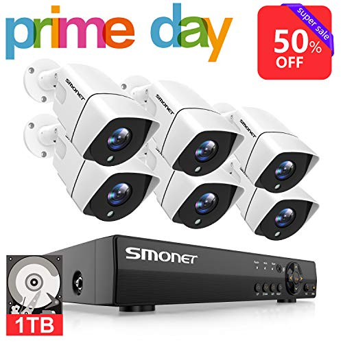 【2019 New】 1080P Security Camera System,SMONET 8-Channel Outdoor/Indoor Surveillance System(1TB Hard Drive),6pcs 1080P(2.0MP) Security Cameras,65ft Night Vision,P2P, Free APP,Easy Remote View - New Channel Set