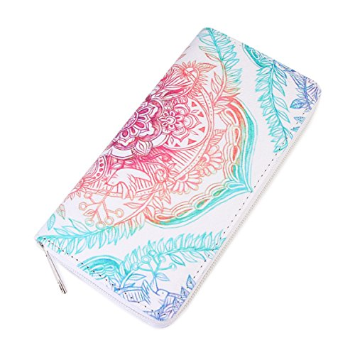 Riah Fashion Women's Colorful Mandala Zipper Wallet