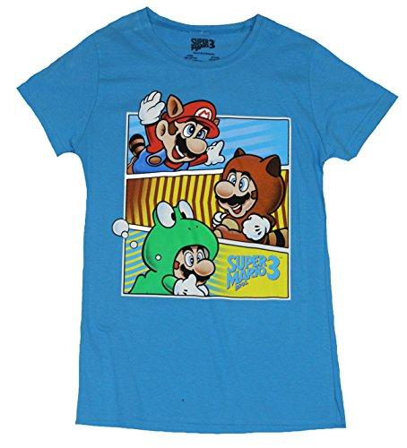 [Super Mario 3 Girls Juniors T-Shirt - Mario Costume Bar Images (Large) Blue] (Donkey Kong Costume For Women)