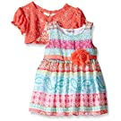Youngland Little Girls Paisley Printed Chiffon Occasion Dress with Crochet Lace, Multi, 12 Months