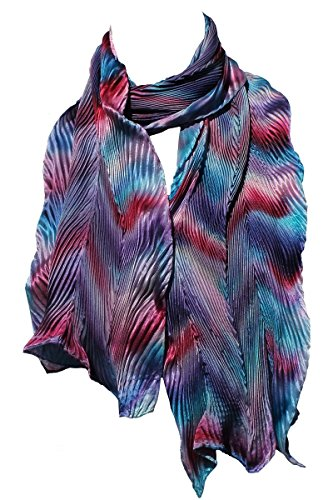 Pink, Blue and Purple Hand Painted Arashi Shibori Silk Scarf by ArtisanStreet