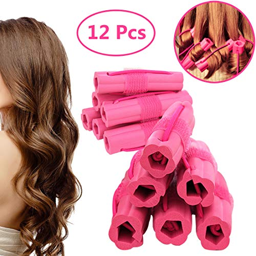 (Hair Rollers Curlers, Foam Sponge Hair Curlers, Pillow Hair Curlers, No Heat Sleep Hair Rollers for Long & Short & Thick & Thin Hair, Flexible Sleeping Hair Curlers for Women & Girls, 12 Pcs)