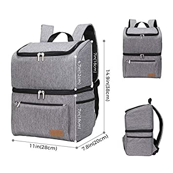 Lifewit 18L 34-Can Insulated Cooler Bag Backpack, Double Decker Lunch Bag Soft-Sided Cooling Bag for Beach Picnic Camping BBQ, Grey