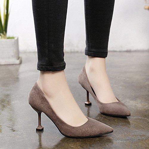 chaussures des sauvage pour avec plat femmes kaki bouche fins 34 noires de paire une professionnelle Dentelle chaussures simples talons 8qwIxtICf