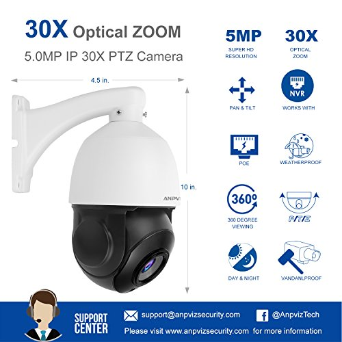 Anpviz Ptz Security Camera H 265 5mp Poe Ip Dome Camera