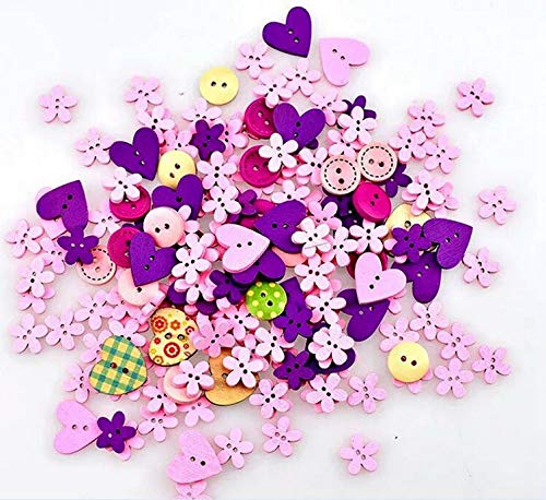(100pcs Pink Purple Wooden Craft Buttons Small Cute Wood Sew Buttons Assorted Design Buttons 2 Hole Bulk Buttons Compatible DIY Scrapbooking Craft Decoration,Mixed Size and Style(Christmas Pink&Purple))