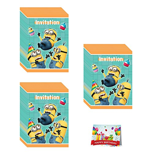 Despicable Me Minions Birthday Party Invitations Bundle Pack of (Minion Invitations)