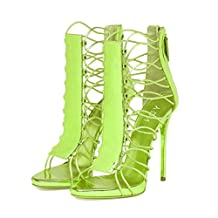 YDN Women Sexy Laces Sandals Open Toe Strappy High Heels Summer Stilettos Shoes