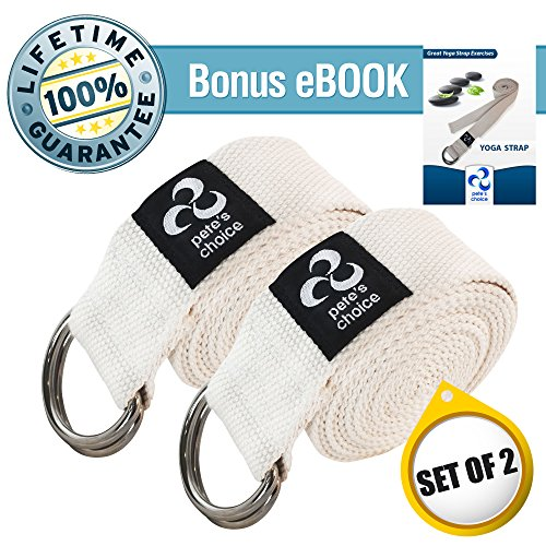 SET OF 2 Yoga Exercise Adjustable Straps 8Ft By Pete's Choice | Thick Cotton With Durable D Ring For Pilates & Gym Workouts | Hold Poses, Stretch, Improve Flexibility & Maintain Balance | BONUS EBook