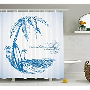 surf decor shower curtain set by ambesonne sketch of hawaiian beach with surfboard palm tree and ocean water