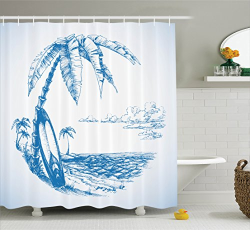 Surf Decor Shower Curtain Set By Ambesonne, Contemporary Sketch Illustration Of Hawaiian Beach With Surfboard Palm Tree And Ocean Water, Bathroom Accessories, 69W X 70L Inches, Blue White