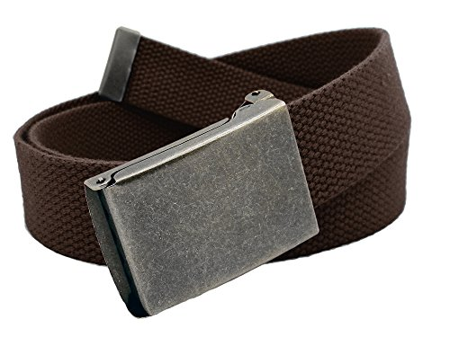 Boys School Uniform Distressed Silver Flip Top Military Belt Buckle with Canvas Web Belt Small Brown]()